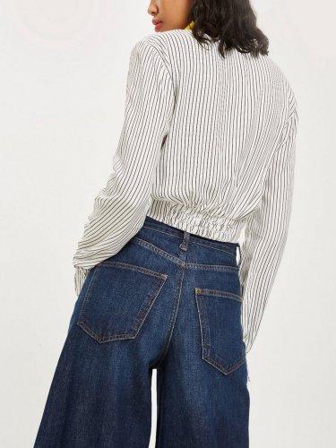 Stripe Long Sleeve Cotton V Neck Shirts & Tops
