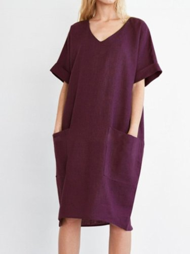 V neck Women Summer Dress Shift Daily Pockets Solid Dress