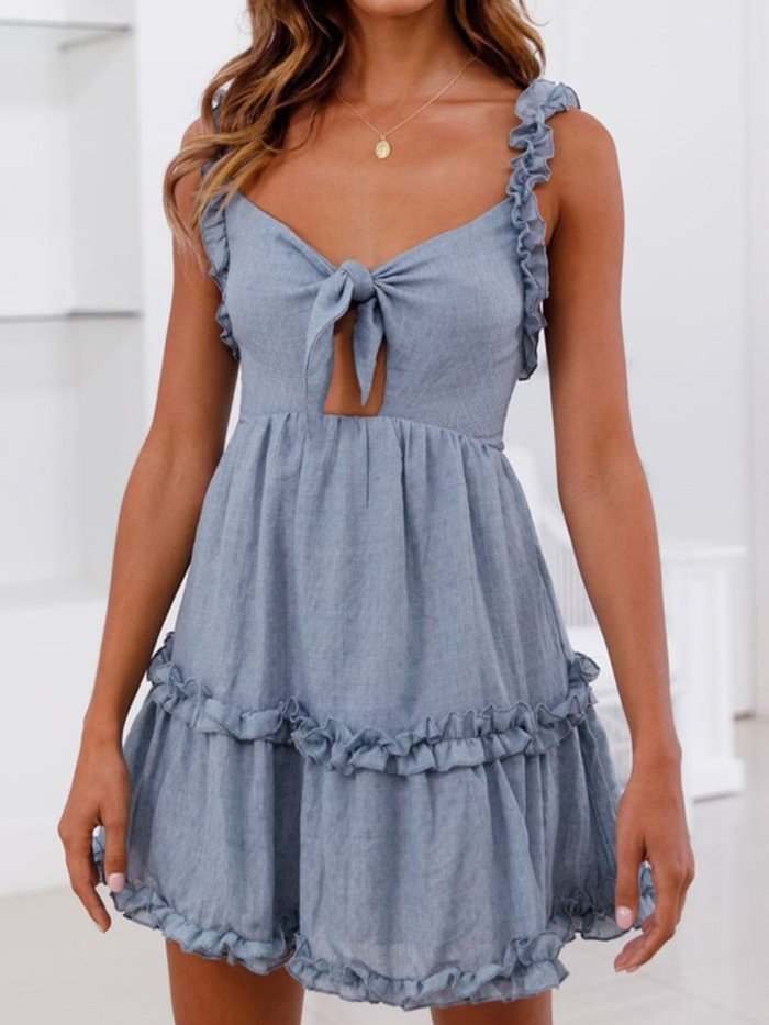 Spaghetti A-line Casual Solid Backless Casual Dress