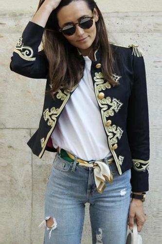 Fashion Inwrought Long Sleeve Coat