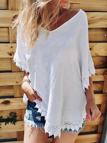 Lace Hem Tops Tunic Blouse Shirt