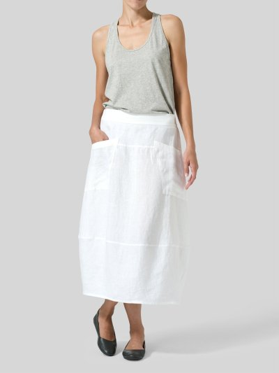 Solid Casual Linen Skirts