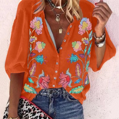 New Fashion Blouse Autumn Plus Size Loose Casual Long Sleeve With Buttons Floral Print Shirts Tops