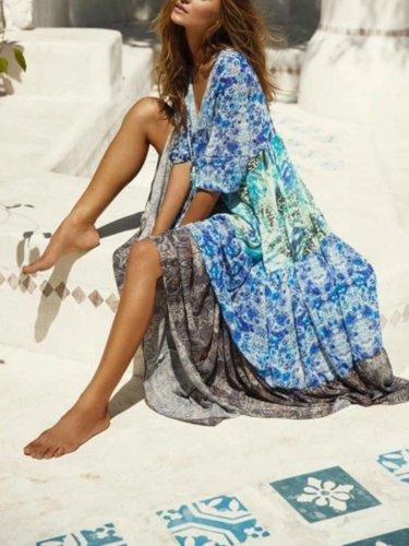 Blue Holiday Floral V Neck Maxi Dresses