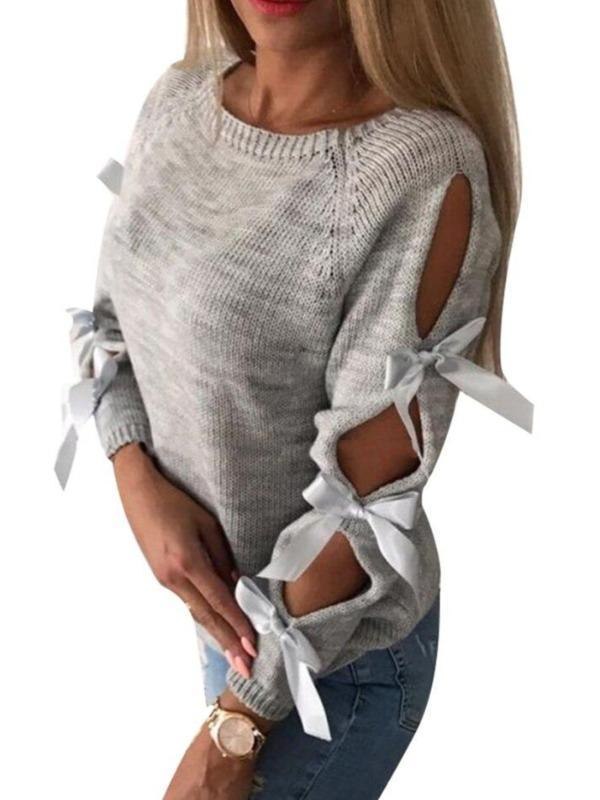 Round Neck Sweater Women Pullover Casual  Sweater Female Cotton Long Sleeve Openwork Tie with Bow