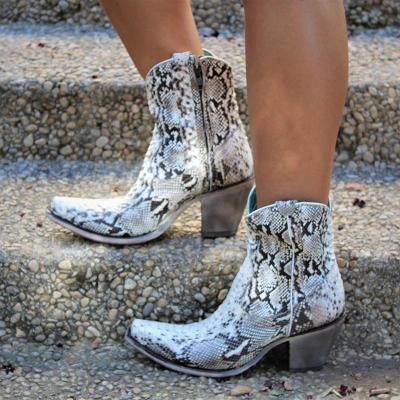 Snakeskin Med (3-8Cm) Closed Toe Chunky Heel Women Boots