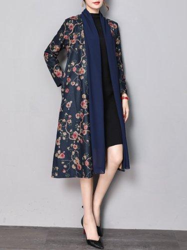 Floral Printed Paneled Wool Blend Coat