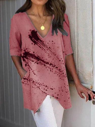 Printed V neck Casual Shirts & Tops