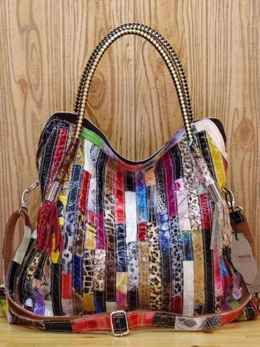 Leather stitching bohemian style handbag