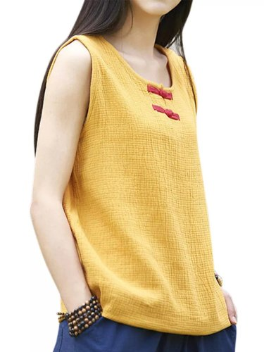 Round Neck Casual Sleeveless Cotton Shirts & Tops