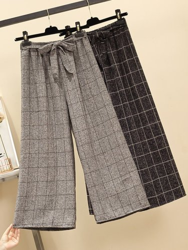 Plus Size Women Plaid Casual Pants