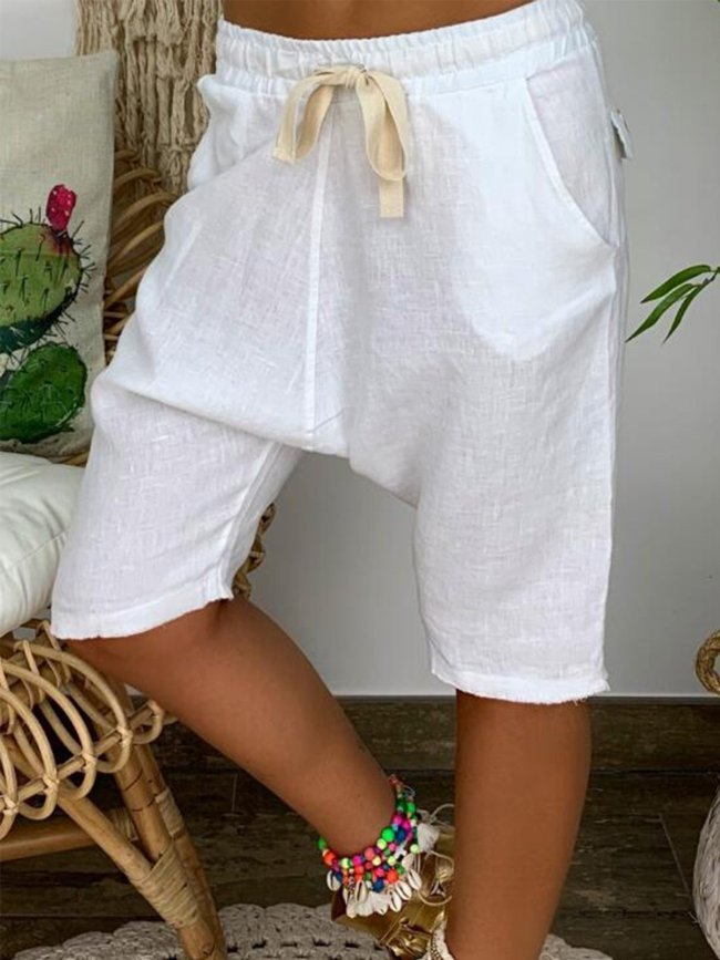Solid Cotton Casual Shorts