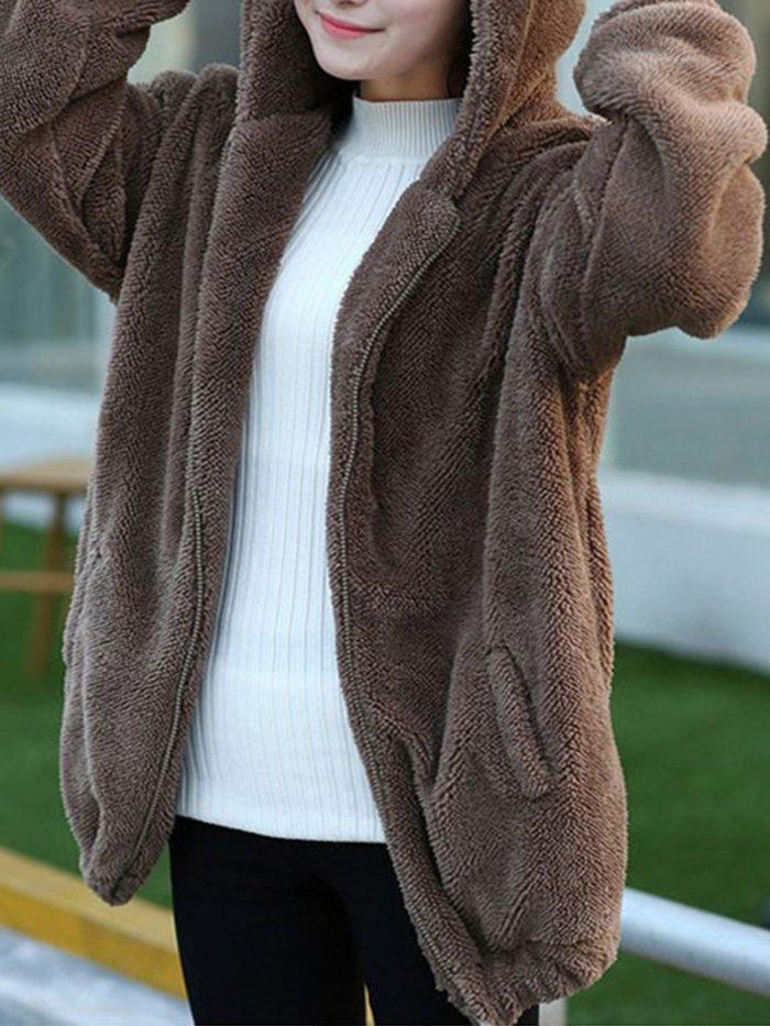 Long Sleeve Fleece-lined Hoodie Cute Coat