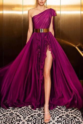 Elegant Irregular Belted Ruffled Sloping Shoulder Evening Dress