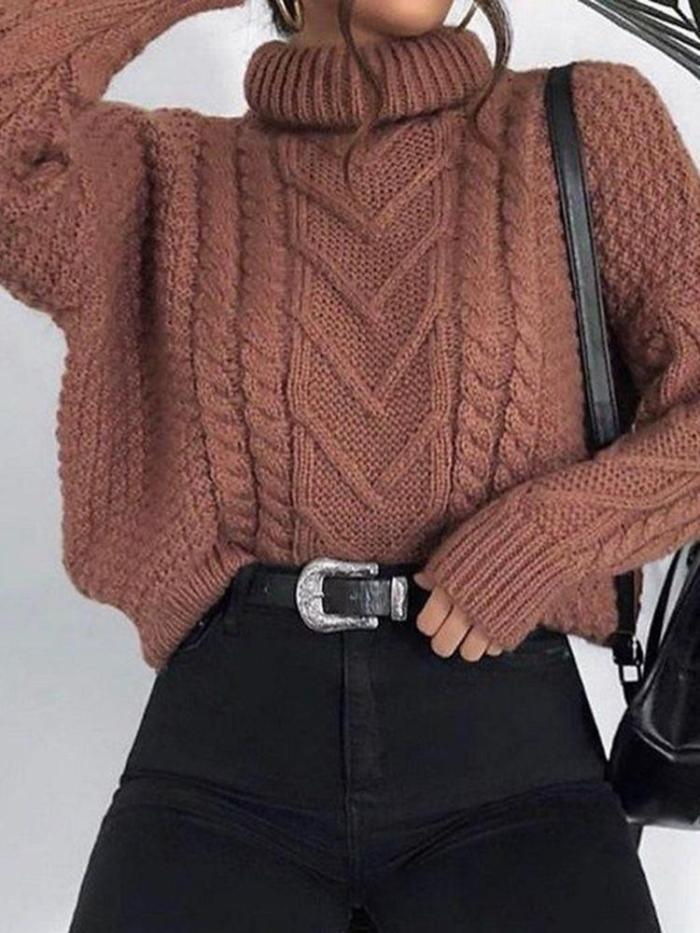Casual Pile Collar Solid Color Twist Loose Knit Sweater