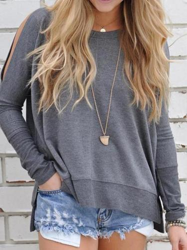 Solid Loose Open Shoulder Long Sleeve T-shirt