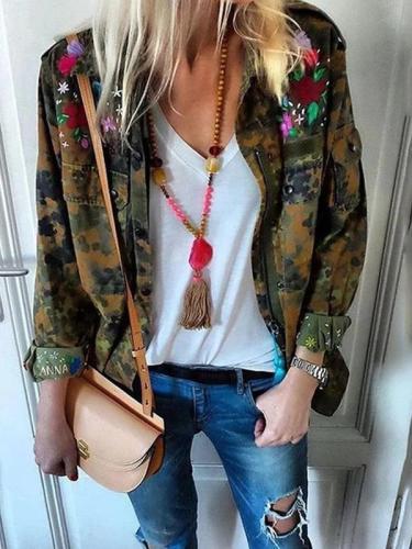 Women's Fashion Camouflage Pattern Single-Breasted Long Sleeve Cardigan