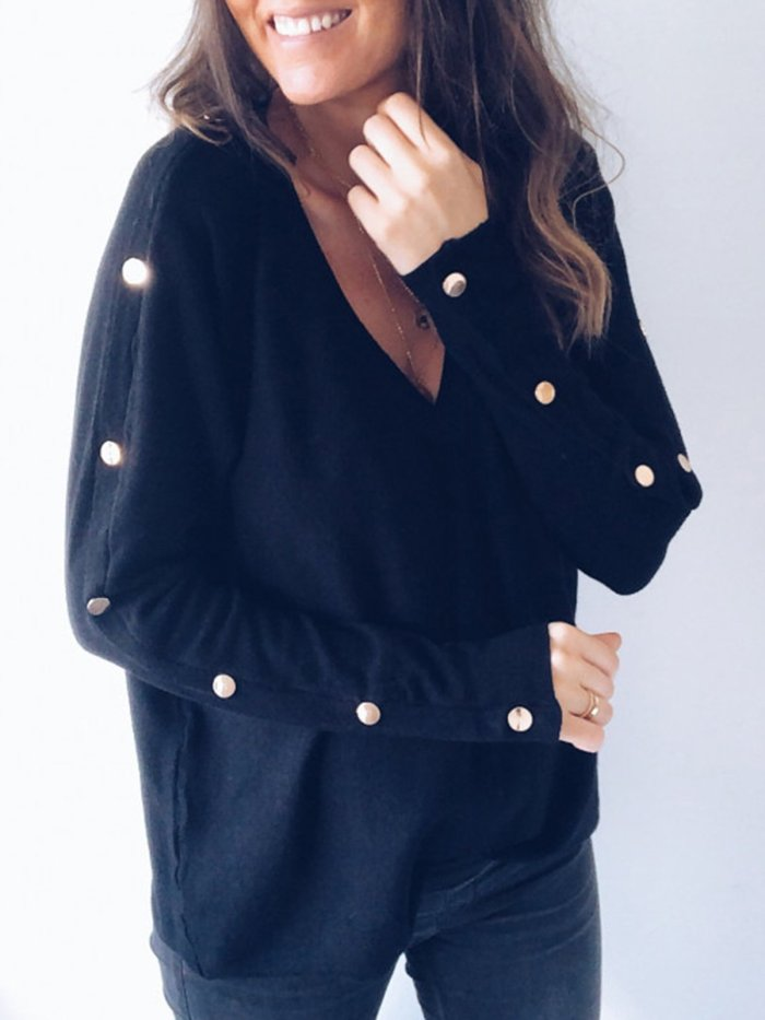 Buttoned Long Sleeve Vintage V Neck Sweaters