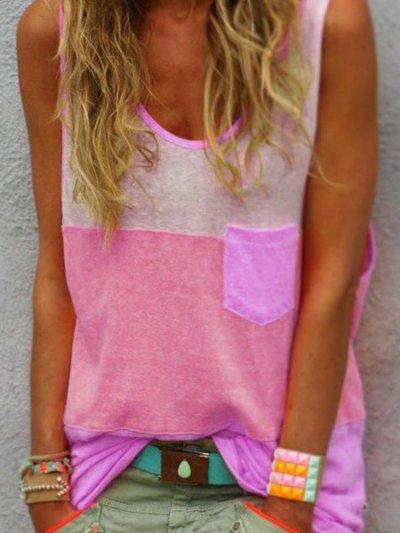 Sleeveless Cotton V Neck Printed/dyed Shirts & Tops