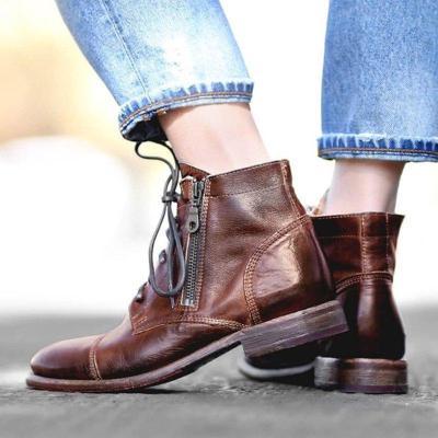Women's Vintage Zipper Round Toe Low Heel Ankle Booties Plus Size Chelsea Boots