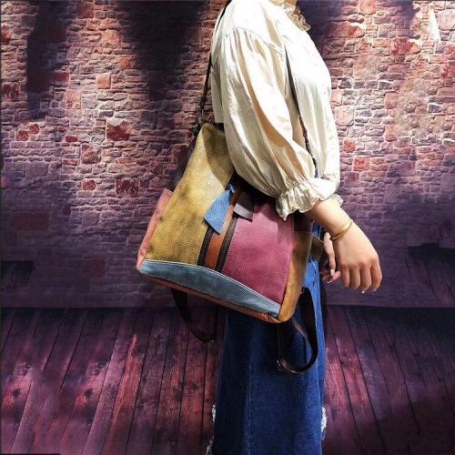 Vintage Colorful Manual Staining Backpack Bag