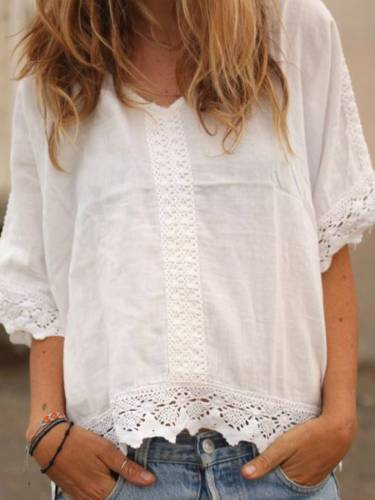 White V Neck Cotton-Blend A-Line Short Sleeve Shirts & Tops