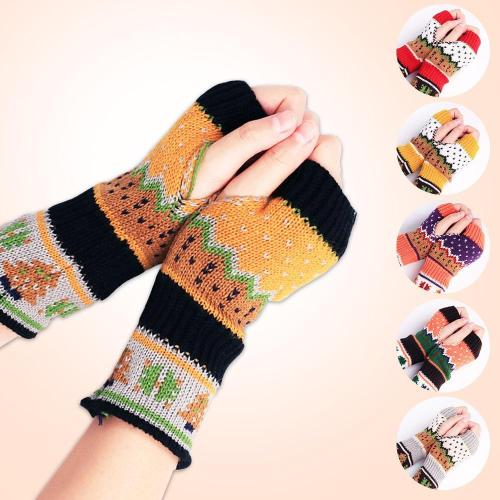 Christmas Knitted Arm Fingerless Winter Gloves Unisex Soft Warm Mitten