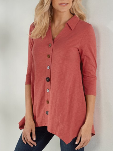Red Buttoned Casual Solid Shirts & Tops