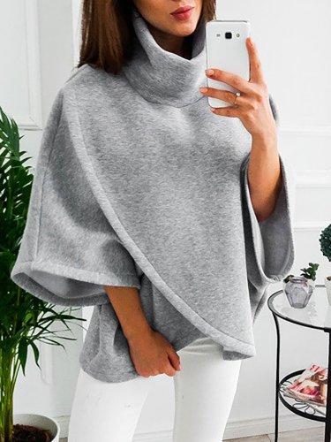 Asymmetric Cotton-blend Casual Turtle Neck Hoodies & Sweatshirt