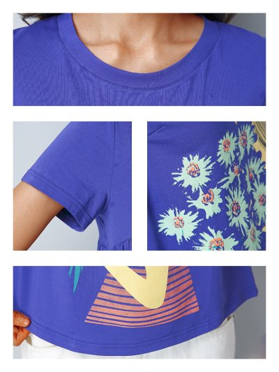 Plus Size Women Short  Sleeve  Round Neck    Floral  Casual  Tops