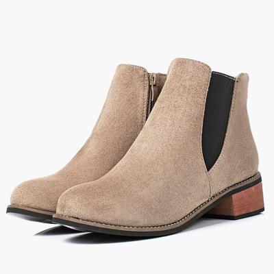 Women Flocking Booties Casual Comfort Zipper Chunky Heel Shoes