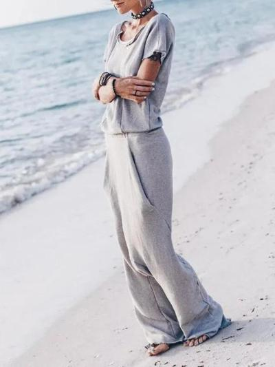 Casual Plus Size Short Sleeve Jumpsuit Overalls One-Pieces