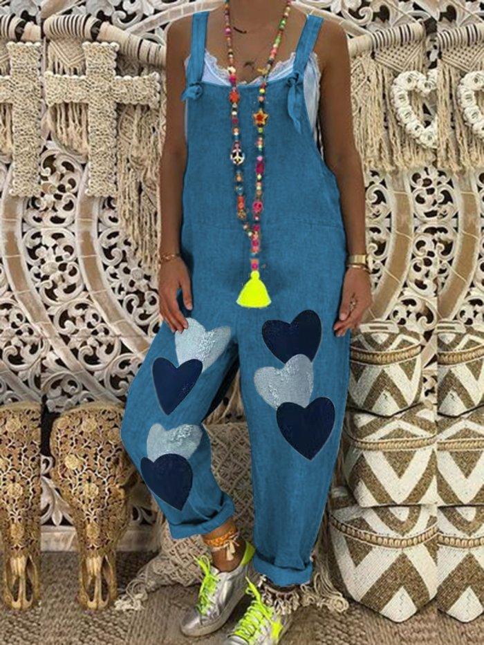 Plus Size Women Heart Print Pockets Denim Jumpsuits