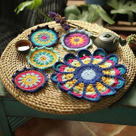Peacock Handmade Crochet Retro Round Plate Pad