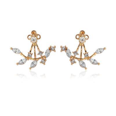 Trendy Fashion Crystal Leaf Earrings Simple Branch Back-hanging Zircon Earring Jewelry