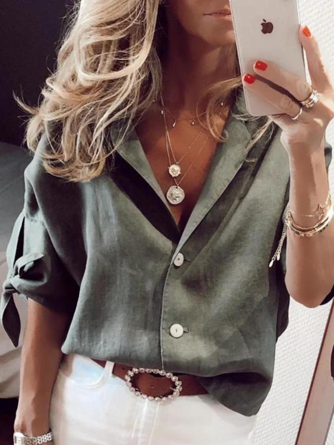 Casual Solid 3/4 Sleeve V Neck Shirts & Tops