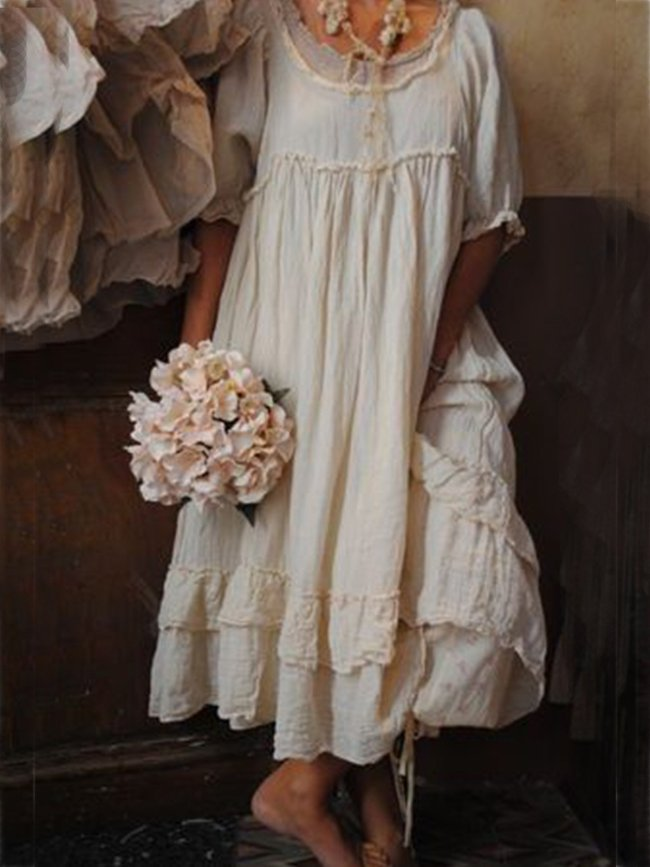 Beige Short Sleeve Cotton Crew Neck Dresses