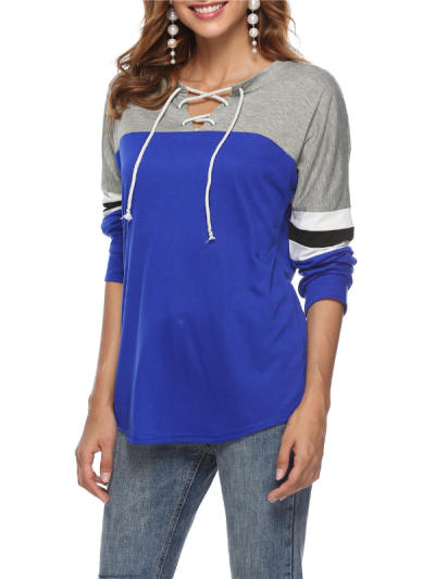 Lace V-neck Patchwork Cotton Sports Printed Shirts