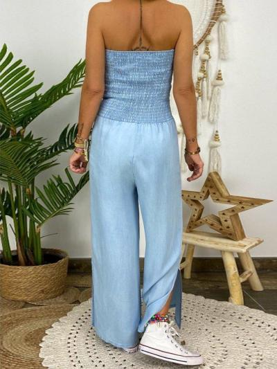 Blue Shift Strapless Gathered Wide Leg One-Pieces