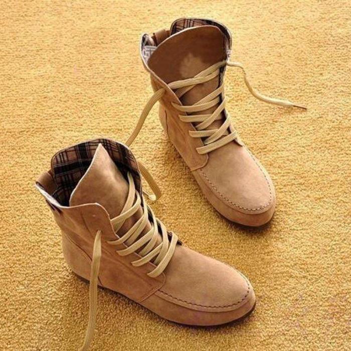 Plus Size Flock Ankle Lace-Up Flat Boots