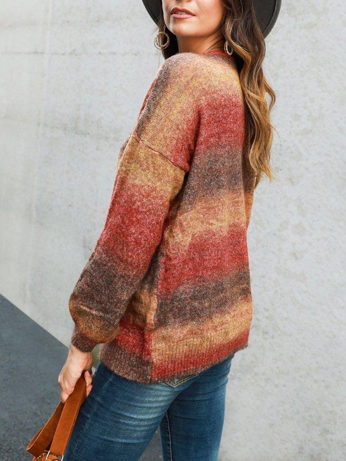 Color-Block Long Sleeve Crew Neck Work Sweaters