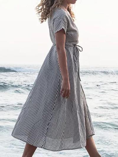 Gray Stripe Women Dresses Daily Paneled Dresses