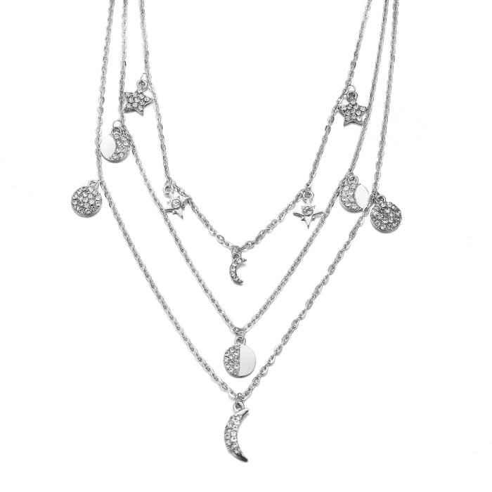Vintage crystal zircon multilayer necklace   sweater chain