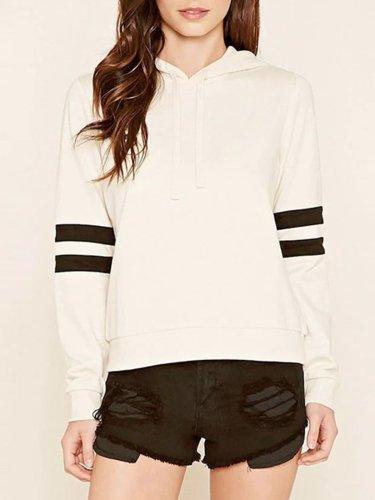 Casual Striped Paneled Cotton Hoodies & Sweatshirt