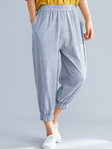 Women Plaid Casual Pants