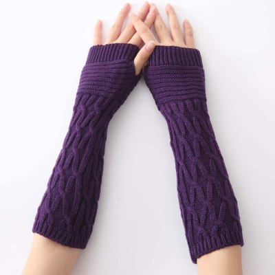 New Women Winter Knitted Gloves Semi-Long Autumn Half Fingered Hand Warmer Gloves