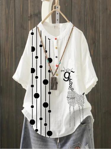 White Cotton-Blend Geometric Casual Short Sleeve Shirts & Tops