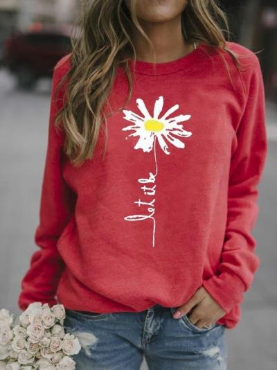 Red Printed Patchwork Long Sleeve Shirts & Tops