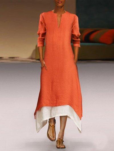 Linen Elegant A-line Casual Dress
