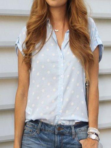 Blue Casual Polka Dots Cotton Shirts & Tops